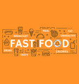 fast food thin line symbols poster vector image