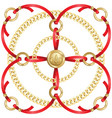 golden chains and red ribbons medallion pattern vector image