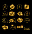 golden hashtag post social media icons vector image