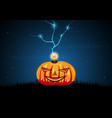 halloween pumpkin graveyard grass thunderbolt vector image vector image