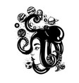 hand drawn of womens head with octopus planets vector image vector image