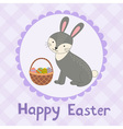 Happy Easter greeting card with a cute rabbit vector image