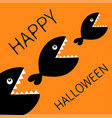 happy halloween card fish monster eating each vector image