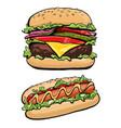 hotdog and burger fast food vector image