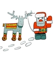 Humorous Santa and Reindeer on Wheels