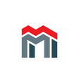 letter m building logo icon symbol vector image