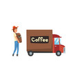 man loading coffee bags into delivery truck vector image vector image