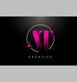 pink at brush stroke letter logo design vector image vector image