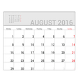 planners for 2016 august vector image vector image