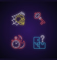 quest room neon light icons set vector image