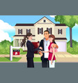 real estate agent in front of a sold house with vector image