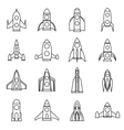 Rocket icons set outline style vector image vector image