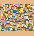 seamless colored city background with cute houses vector image vector image