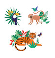 set tropical graphic designs with wild animals vector image