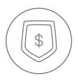Shield with dollar symbol line icon vector image vector image