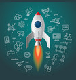 Space rocket launch Business project start up vector image