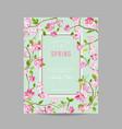 spring floral frame for invitation wedding vector image vector image