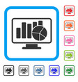statistics monitoring framed icon vector image vector image