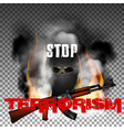 stop terrorism in the fire smoke and skull in the vector image vector image