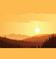 sun and forest and mountains scene vector image vector image