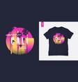 sunset beach california graphic t-shirt design vector image vector image