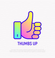 thumbs up thin line icon with gradient vector image