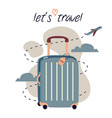 travel and trip concept flat design with bag and vector image