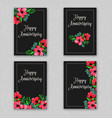 watercolor floral anniversary cards collection vector image vector image