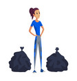 young woman with two packages garbage collection vector image