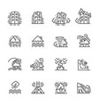 natural disaster of thin line icons for natural vector image