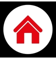 Home flat red and white colors round button vector image