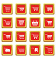 shopping cart icons set red vector image