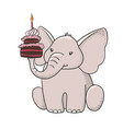 cute hand drawn elephant with cake vector image