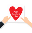 man gives celebrating valentines day in hands vector image