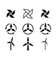 set of fan and wind energy icons vector image