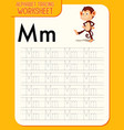Alphabet tracing worksheet with letter m and m