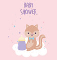bashower little squirrel card cartoon vector image