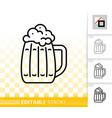 beer mug simple bar ware black line icon vector image vector image