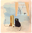 Black cat basking near the heater vector image vector image
