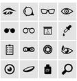 black optometry icon set vector image vector image