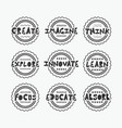 black textured line stamps and labels set on gray vector image vector image