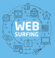 blue line flat circle web surfing vector image vector image
