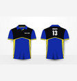 blue yellow and black sport football kits t-shirt vector image