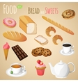Bread and sweets set vector image vector image