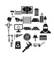 building material icons set simple style vector image vector image