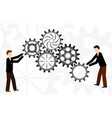 Business teamwork with mechanism system