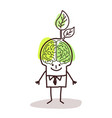 businessman with green brain and leaf vector image