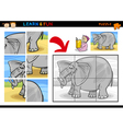 Cartoon elephant puzzle game vector image vector image