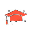 cartoon graduation cap icon in comic style finish vector image vector image