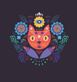 cat head and flowers greeting or invitation card vector image vector image
